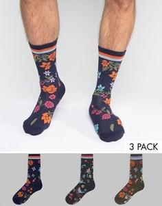 3 пары носков с цветами и полосками в рубчик ASOS - Мульти