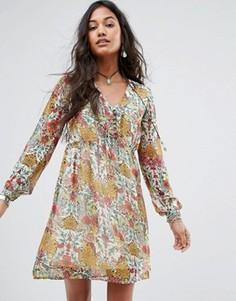 Свободное платье с цветочным принтом Boohoo - Мульти