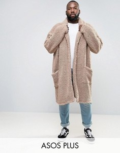 Бежевое оversize-пальто из искусственного меха ASOS PLUS - Бежевый