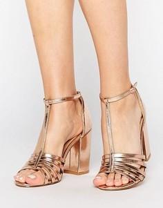 Босоножки металлик на блочном каблуке New Look - Розовый