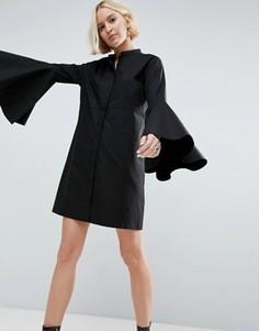Платье-рубашка мини с рукавами клеш ASOS WHITE - Черный