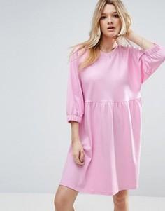 Хлопковое свободное платье с эластичными манжетами ASOS - Розовый