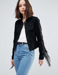 Джинсовая куртка с бахромой на рукавах Only - Черный