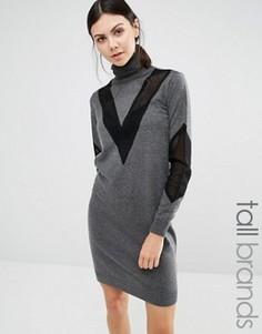 Платье-джемпер с отворачивающимся воротником Y.A.S Tall Mari - Серый