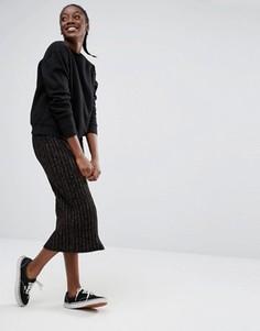 Трикотажная узкая юбка Monki - Черный