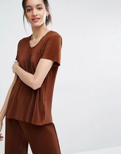 Плиссированная футболка Just Female Quint - Коричневый