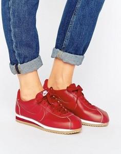 Красные кожаные кроссовки с каучуковой подошвой Nike Classic Cortez - Кремовый
