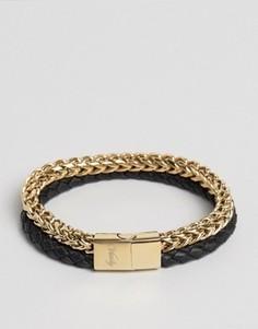 Золотисто-черный браслет из цепочки и кожи Vitaly Tzu - Золотой