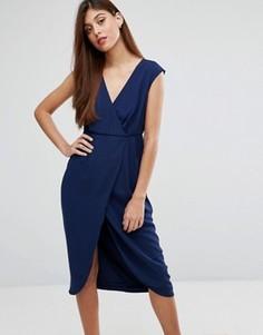 Платье с запахом и оборками Darling - Темно-синий