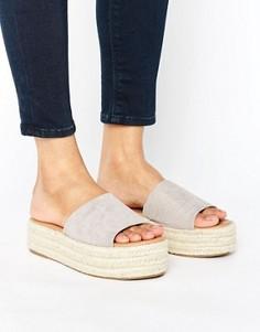 Серые сандалии-эспадрильи на плоской платформе Glamorous - Серый
