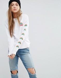 Белый свитшот с радугами Vans - Белый