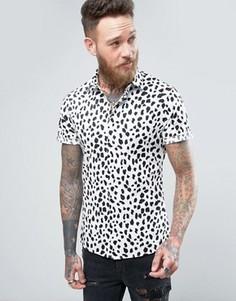Рубашка скинни с леопардовым принтом ASOS - Белый