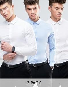 3 рубашки скинни (белая и голубая) ASOS - СО СКИДКОЙ - Мульти