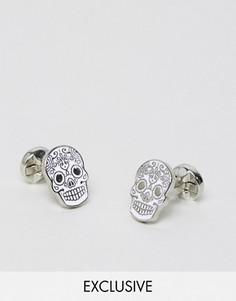 Серебристо-белые запонки в виде черепа Noose & Monkey - Серебряный