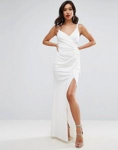 Платье макси на бретельках с кольцом и запахом ASOS - Белый