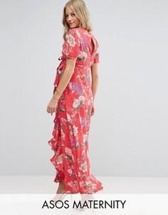 Чайное платье макси с цветочным принтом и оборками ASOS Maternity - Красный
