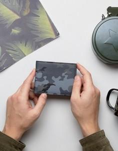 Кожаный камуфляжный кошелек ASOS - Черный