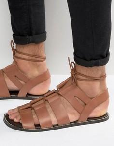 Светло-коричневые кожаные гладиаторские сандалии со шнуровкой ASOS - Рыжий