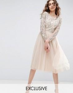 Платье миди с длинными рукавами и вышивкой Needle and Thread - Розовый