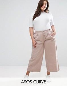 Широкие брюки на пуговицах спереди ASOS CURVE - Розовый