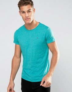 Зеленая меланжевая футболка с логотипом-флажком Tommy Hilfiger Denim - Зеленый