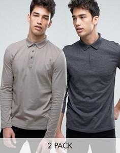 2 трикотажных футболки-поло с длинными рукавами (серая, темно-серая) ASOS - СКИДКА - Мульти