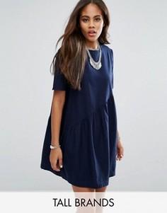 Короткое приталенное платье с асимметричным дизайном Noisy May Tall - Темно-синий