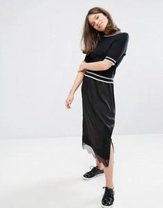 Юбка миди с кружевной отделкой Monki - Черный