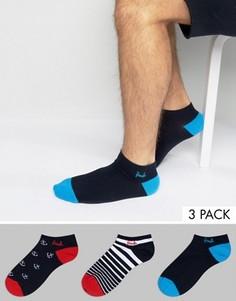 3 пары невидимых носков (с якорями и в полоску) Pringle - Темно-синий