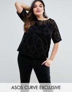 Сетчатая oversize-футболка с геометрическим узором ASOS CURVE - Черный