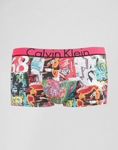 Боксеры-брифы из микрофибры с заниженной талией и принтом граффити Calvin Klein - Розовый