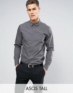 Темно-серая рубашка классического кроя ASOS TALL - Серый