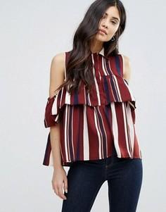 Блузка с принтом, оборкой и вырезами на плечах AX Paris - Мульти
