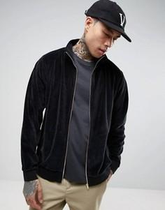 Черная велюровая спортивная куртка ASOS - Черный