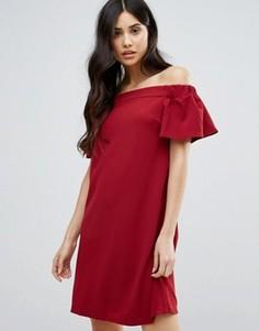 Цельнокройное платье мини с открытыми плечами Ax Paris - Красный