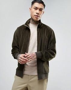 Велюровая трикотажная куртка хаки ASOS - Зеленый