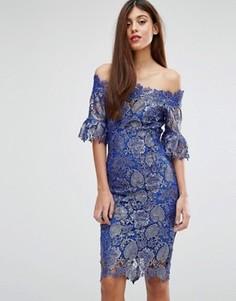 Кружевное платье миди с широким вырезом Paperdolls - Синий