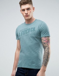 Зеленая обтягивающая футболка с логотипом Abercrombie & Fitch - Серый