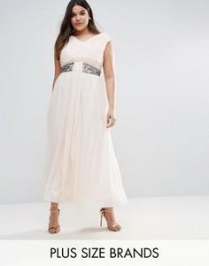Платье макси с драпировкой Little Mistress Plus - Розовый