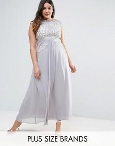 Платье макси из кружева кроше с драпировкой Little Mistress Plus - Фиолетовый