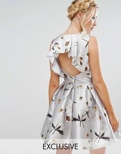 Атласное платье мини с цветочным принтом Hope and Ivy - Мульти