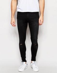 Черные винтажные супероблегающие джинсы с рваными коленками Waven Royd - Черный