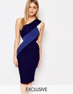 Платье-футляр миди на одно плечо с контрастной вставкой Vesper - Мульти