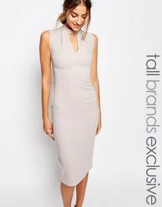 Платье-футляр без рукавов с высоким воротом и вырезом капелькой Alter Tall - Серый
