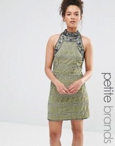 Цельнокройное платье с высокой горловиной и отделкой Maya Petite - Зеленый