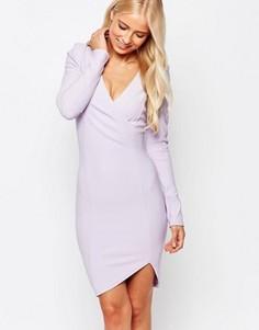 Платье-футляр с запахом и длинными рукавами AX Paris - Фиолетовый