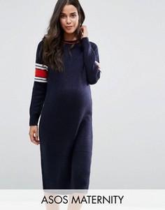 Трикотажное платье миди для беременных с полосками ASOS Maternity - Темно-синий