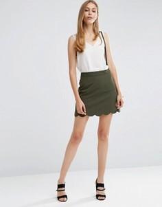 Мини юбка‑трапеция с фигурным краем ASOS - Зеленый