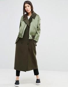 Пальто с отделкой в стиле куртки-пилот ASOS - Мульти
