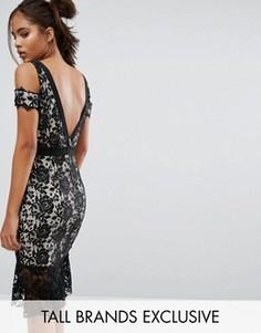 Кружевное платье с вырезами на плечах и удлиненной спинкой Paper Dolls Tall - Черный